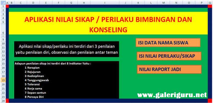 Contoh Aplikasi Nilai Sikap Guru BK Deskripsi Otomatis Format Excel - Galeri Guru