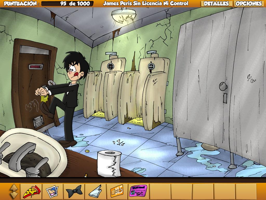 Perspectiva en 3ª persona de un personaje en un cuarto de baño.
