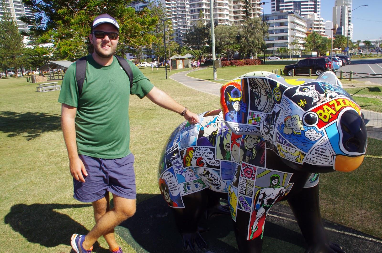 Broadbeach Walkway Guy with Koala Statue