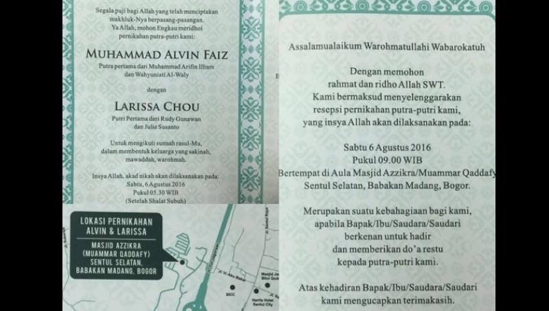 Undangan pernikahan Muhammad Alvin Faiz dan Larissa Chou