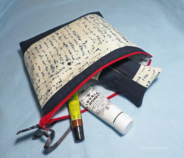 Make a zippered pouch makeup bag using text fabric ~ Threading My Way