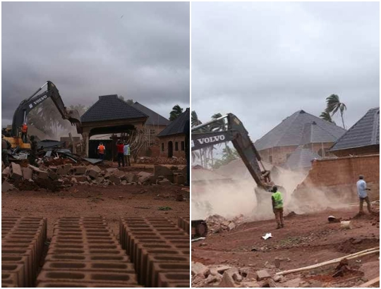 Jubilation in Kogi State as governor Bello destroys house owned by notorious criminal (Photos)