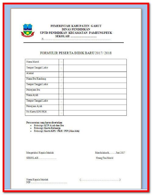 Contoh Formulir Peserta Didik Baru Tahun 2017/2018 Siap Cetak Format Words.Docx