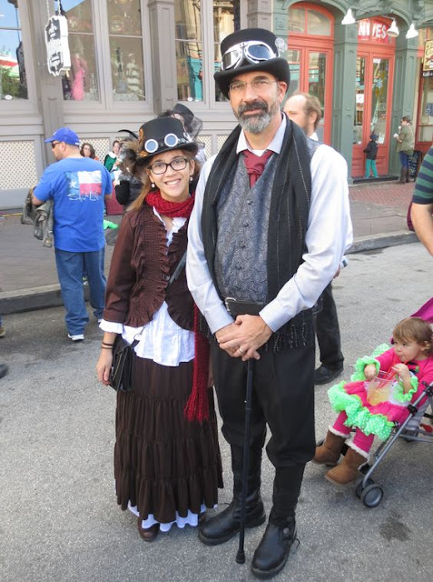 steampunk dad and kid in costume