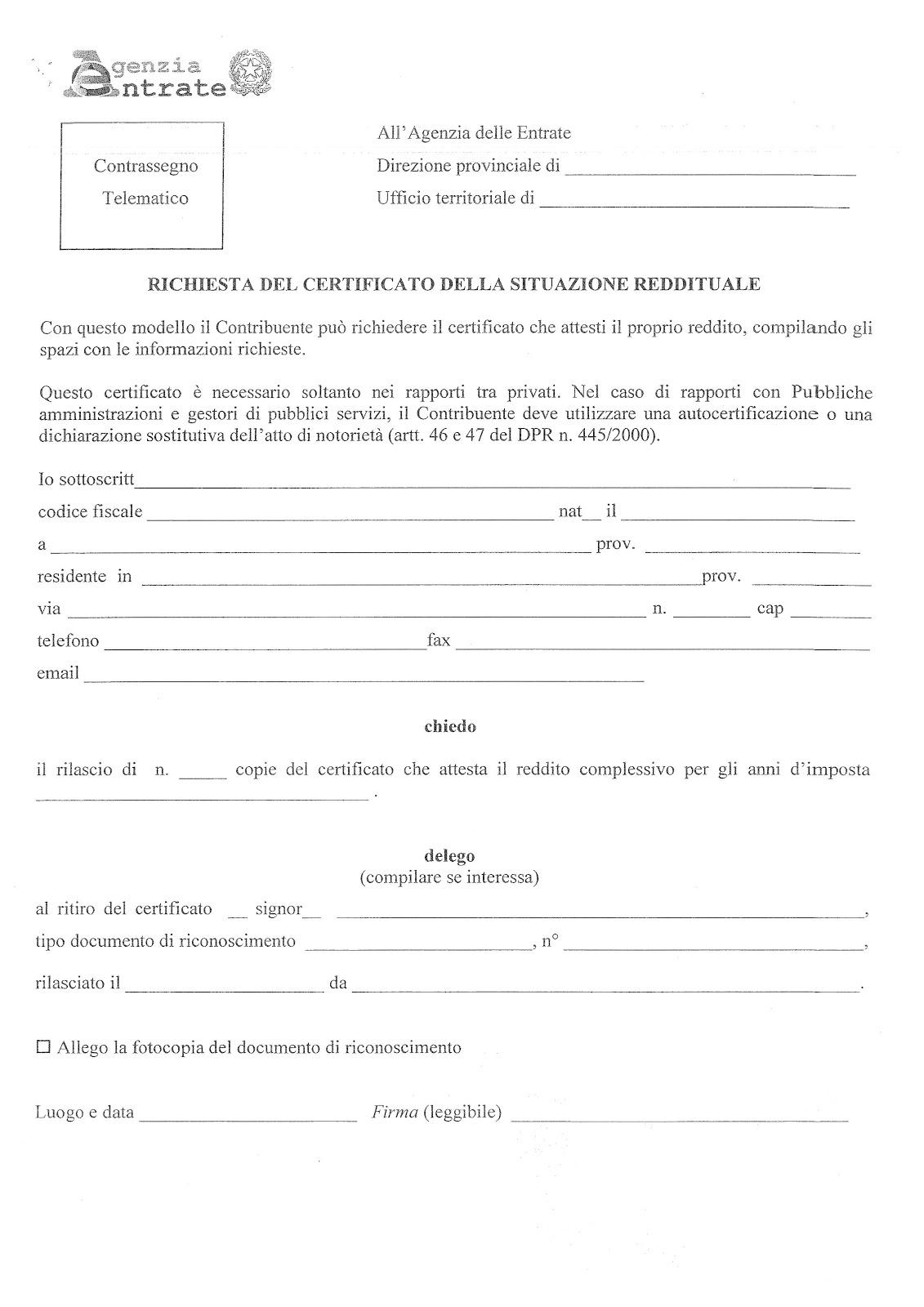 Studio legale buonomo diritto previdenziale ed for Fac simile autocertificazione per detrazione materasso