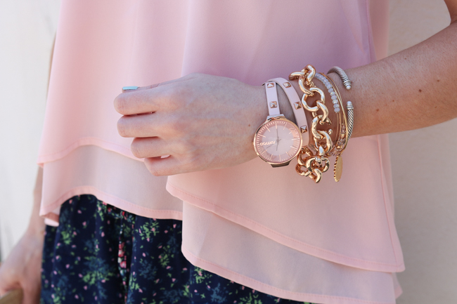blush studded watch and gold link bracelet with pink cami