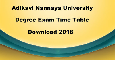 Manabadi AKNU Degree Time Table 2018 Download, Nannaya University UG Time Table 2018