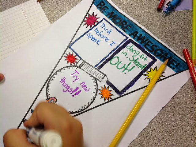 """With inspiration from Kid President, students set goals to """"Be More Awesome!"""" Read on to learn ideas for implementation and grab a free printable activity! Put completed student pennants together to create a classroom banner. Perfect décor all year long!"""