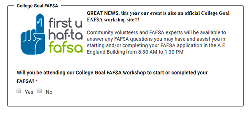 Snapshot of Be a Leader FAFSA registration form at www.tfaforms.com/4689370