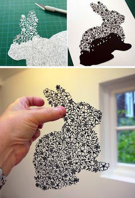 Conejo hecho y cortado a mano en papel