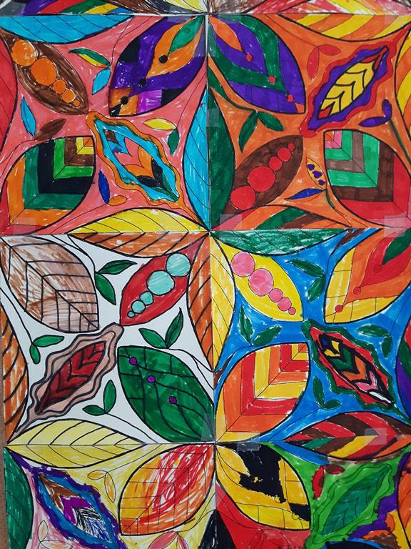 Filzstifzeichnung - Herbst-Blätter als Mosaik aneinandergereiht