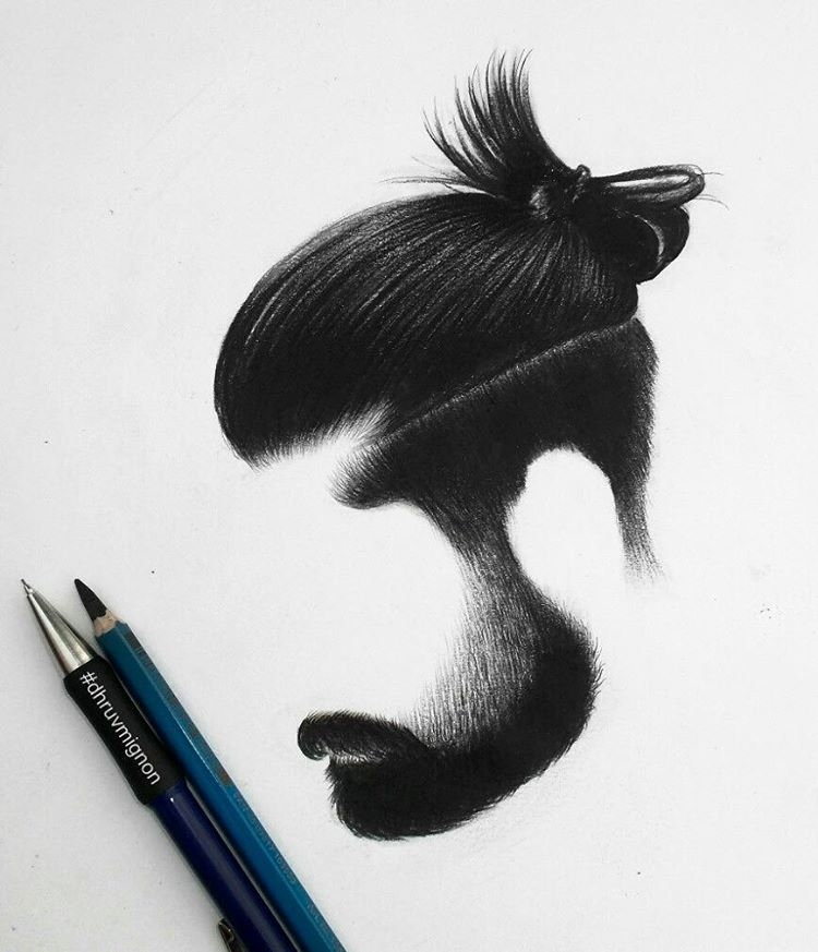 02-dhruvmignon-Minimalist-Realistic-Hair-Study-Drawings-www-designstack-co
