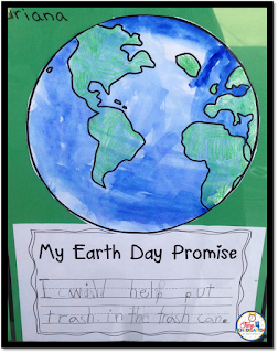 Earth Day art and writing project:  crayon resist and water color art