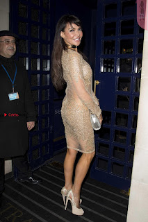 Lizzie Cundy exposing her nude nipples and pussy in beautiful glittering transparent gown at Eating Happiness restaurant