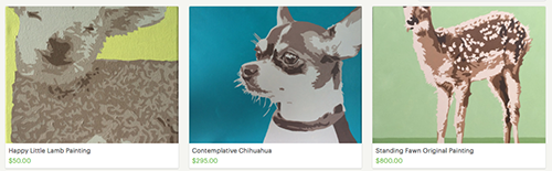 etsy-listings, featured-listings, animal-paintings