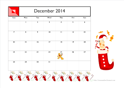 December 2014 Calendar (Christmas Stockings)