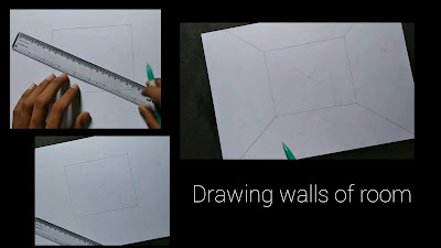 Room drawing with one point perspectives,3d room drawing, step by step tutorial, easy drawing, room design.room drawing for begginers, kids Drawing