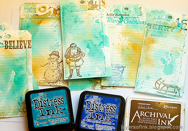 Layers of ink - December Countdown Calendar Tutorial by Anna-Karin Evaldsson. Stamping the tags with Tim Holtz stamps.