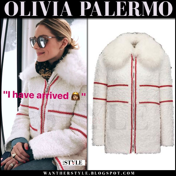 Olivia Palermo in white coat with red embroidery moncler what she wore march 2017 ski vacation