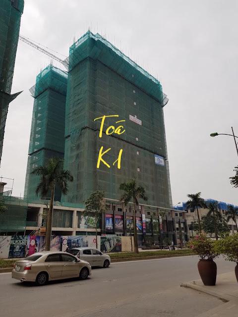 Hình ảnh tòa K1 hiện đang được thi công xây dựng đến tầng 22