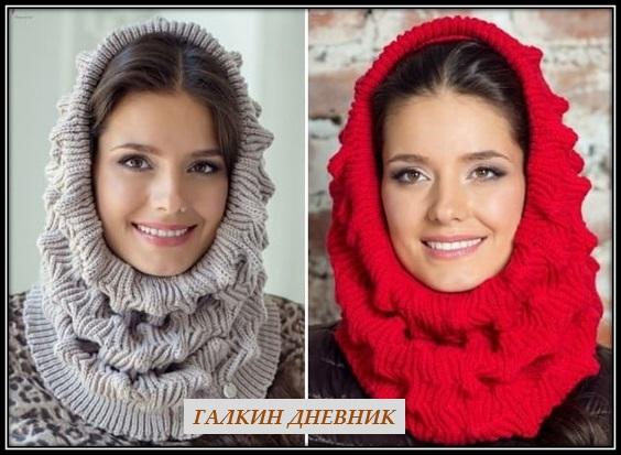 шарф хомут спицами 2