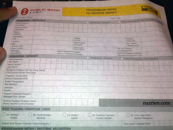 Borang Western Union Public Bank