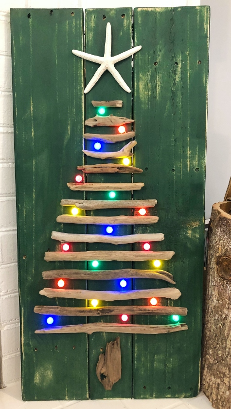 Lit Wall Driftwood Christmas Trees
