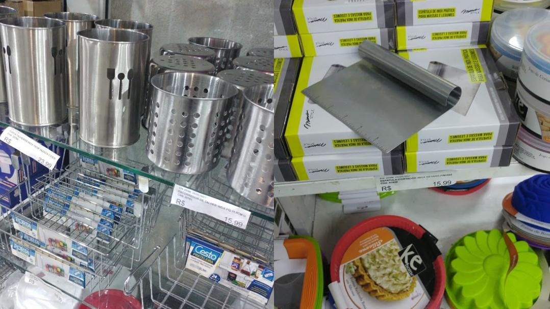 ddfc15822 Porta utensílios de aço inox e espátula de corte em aço inox (Dica  essa  espátula é muito usada pela Rita Lobo e estava mais barata (R 9