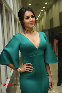Actress Raashi Khanna Pictures in Green Long Dress at Hyper Trailer Launch  0088