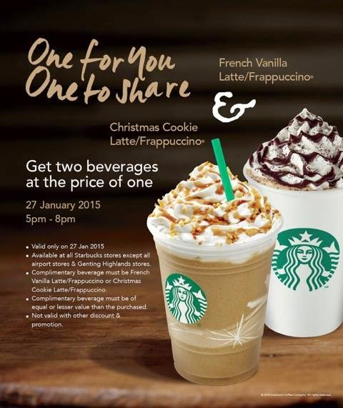Free Samples And Good Deals: Starbucks Buy 1 FREE 1 Promotion