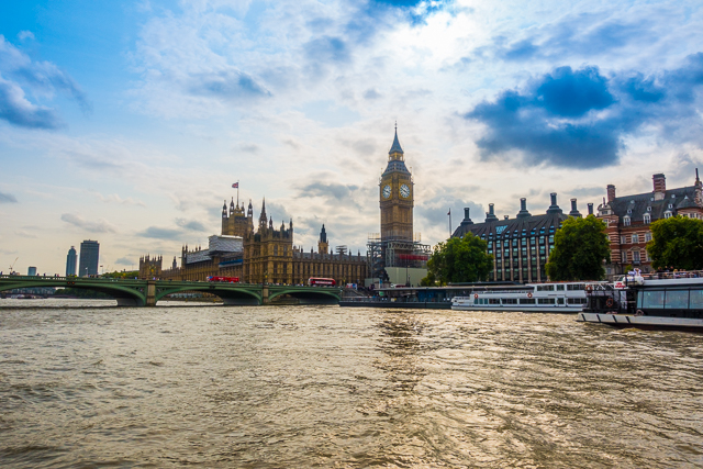 View of Big Ben and Parliament from Thames River Boat - London, England