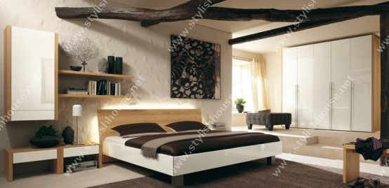 Marvelous wooden and white american bedroom furniture set