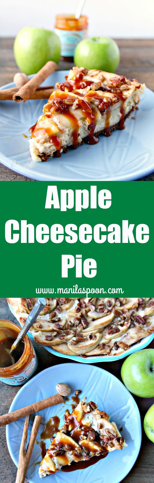 This easy and luscious fruity dessert combines the flavors of Apple Pie and Cheesecake so you can enjoy both! Make it ahead for fuss-free entertaining. Drizzle some caramel sauce on top for extra yum! | manilaspoon.com