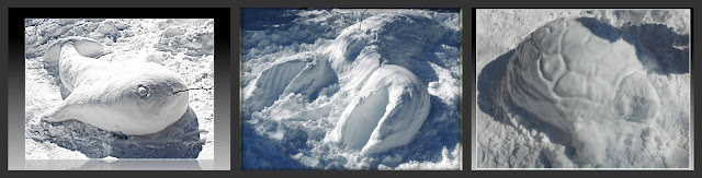 Esculturas de nieve de Ballena, Langosta y Tortuga