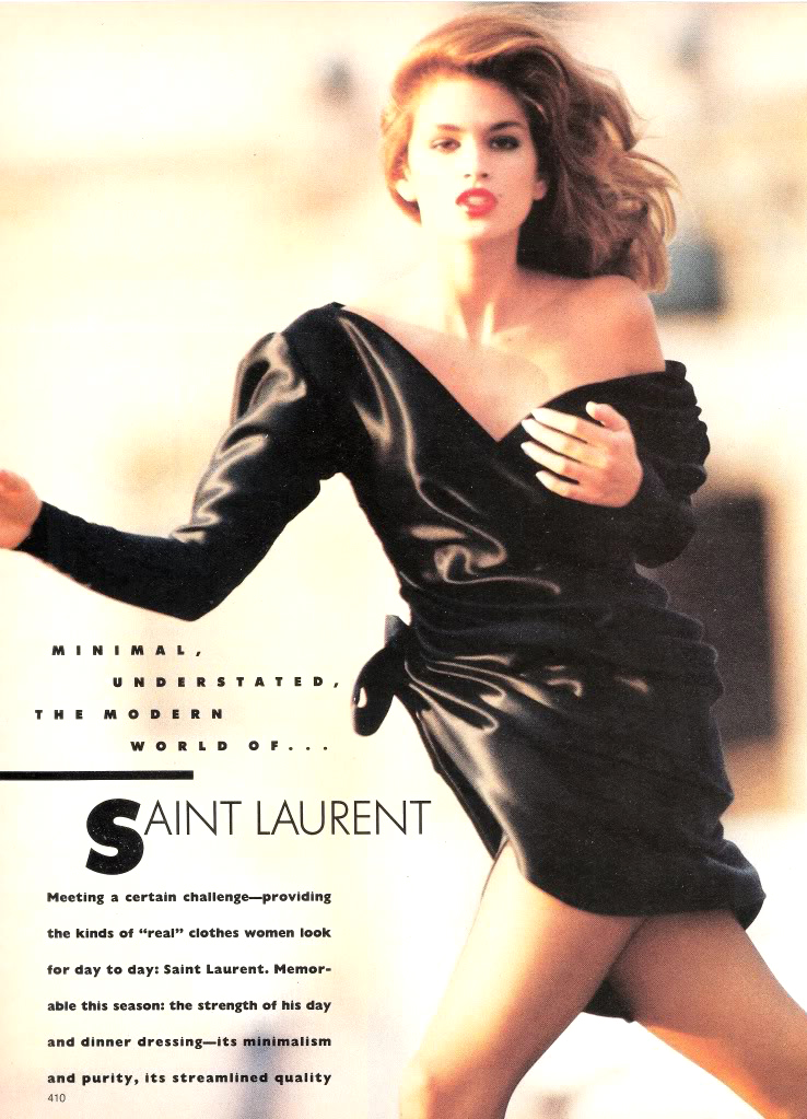 Cindy Crawford wearing Yves Saint Laurent in Vogue US October 1987 (photography: Wayne Maser) via www.fashionedbylove.co.uk