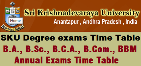 SKU degree time table 2019-2020 Pdf, Results @ Manabadi