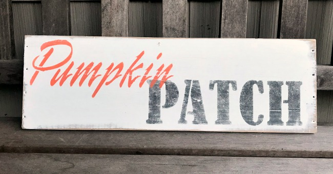 Pumpkin Patch Stenciled Sign on Reclaimed wood