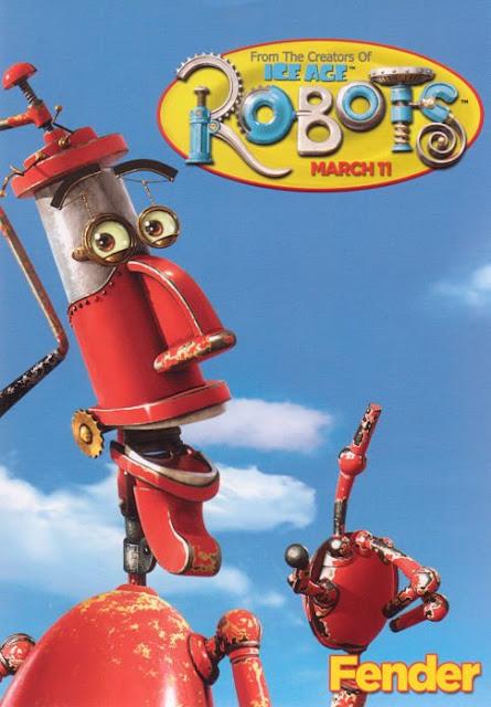 Imagen en 3D del cartel de Fender de la película Robots