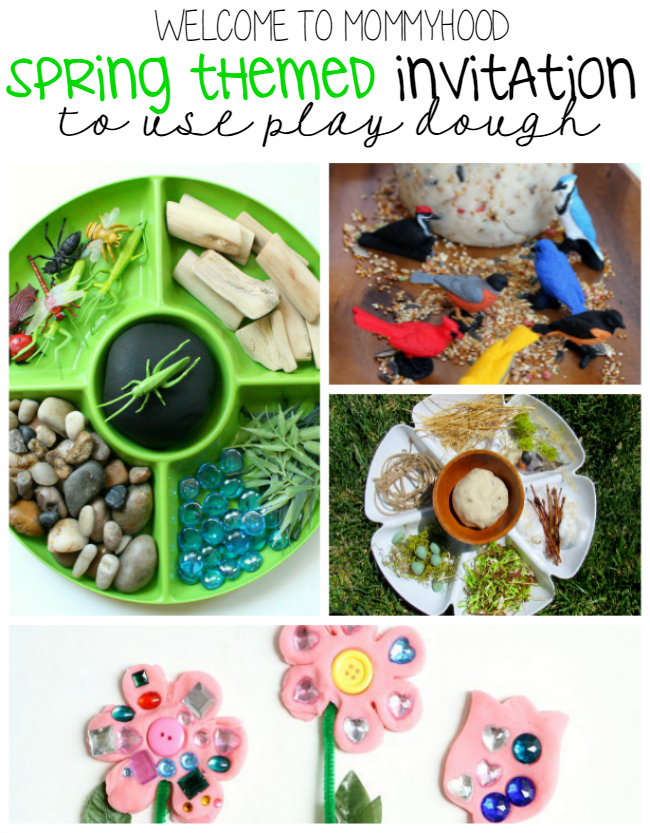Spring activities: invitation to use play dough by Welcome to Mommyhood #playdough #springactivities #springplaydough #finemotor #spring