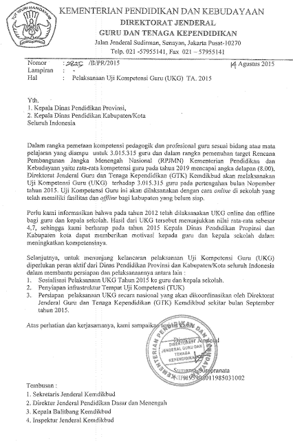 Jadwal Ukg Tahun 2015 Surat Edaran Dari Ditjen Gtk Data Sekolah