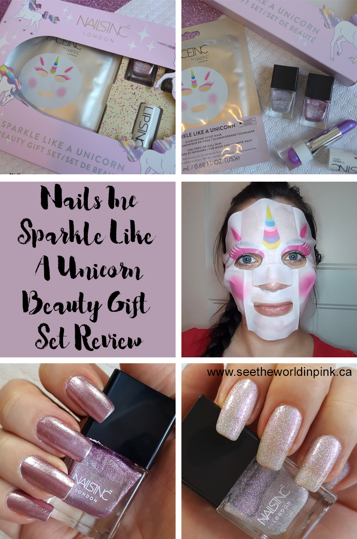 Manicure Tuesday Bonus Post - Nails Inc. Sparkle Like A Unicorn Set (Nail Polish Swatches, Lipstick Swatches and a Mask Review!)