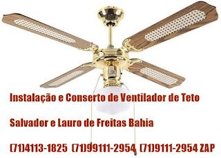 SERVIÇO ELÉTRICO E INSTALAÇÃO DE VENTILADOR DE TETO