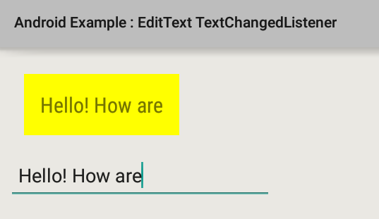 Android ontextchanged not called dating