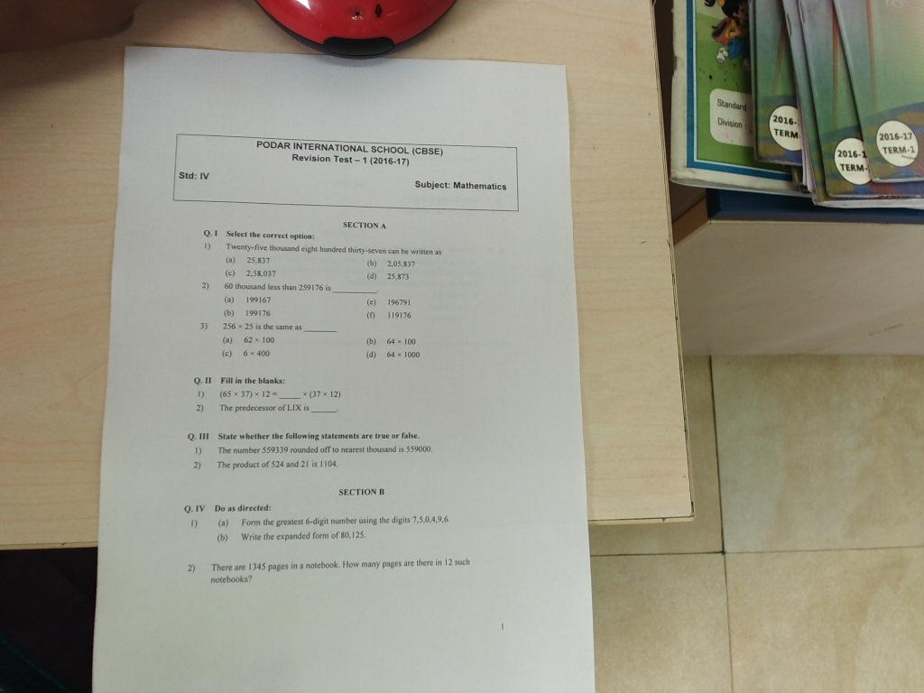 Grade 1 Math Worksheet Cbse