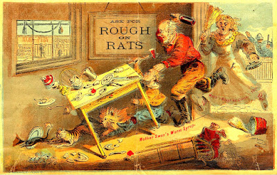 rat chased by cat being chased in turn by dog, small man with hatchet, man with raised bottle and woman with broom and iron followed in distance by policeman while baby in foreground is knocked out of high chair and dining table flips over