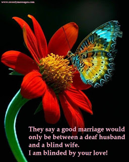 They say a good marriage would only be between a deaf husband and a blind wife. I am blinded by your love!