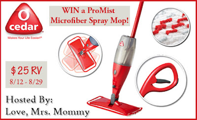 Enter to win the O-Cedar ProMist Microfiber Spray Mop Giveaway! Ends 8/29