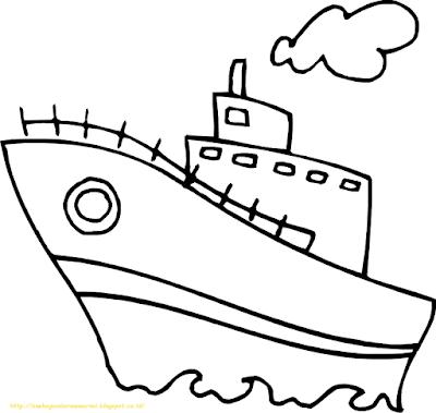 Mewarnai Gambar Kapal Laut - 19