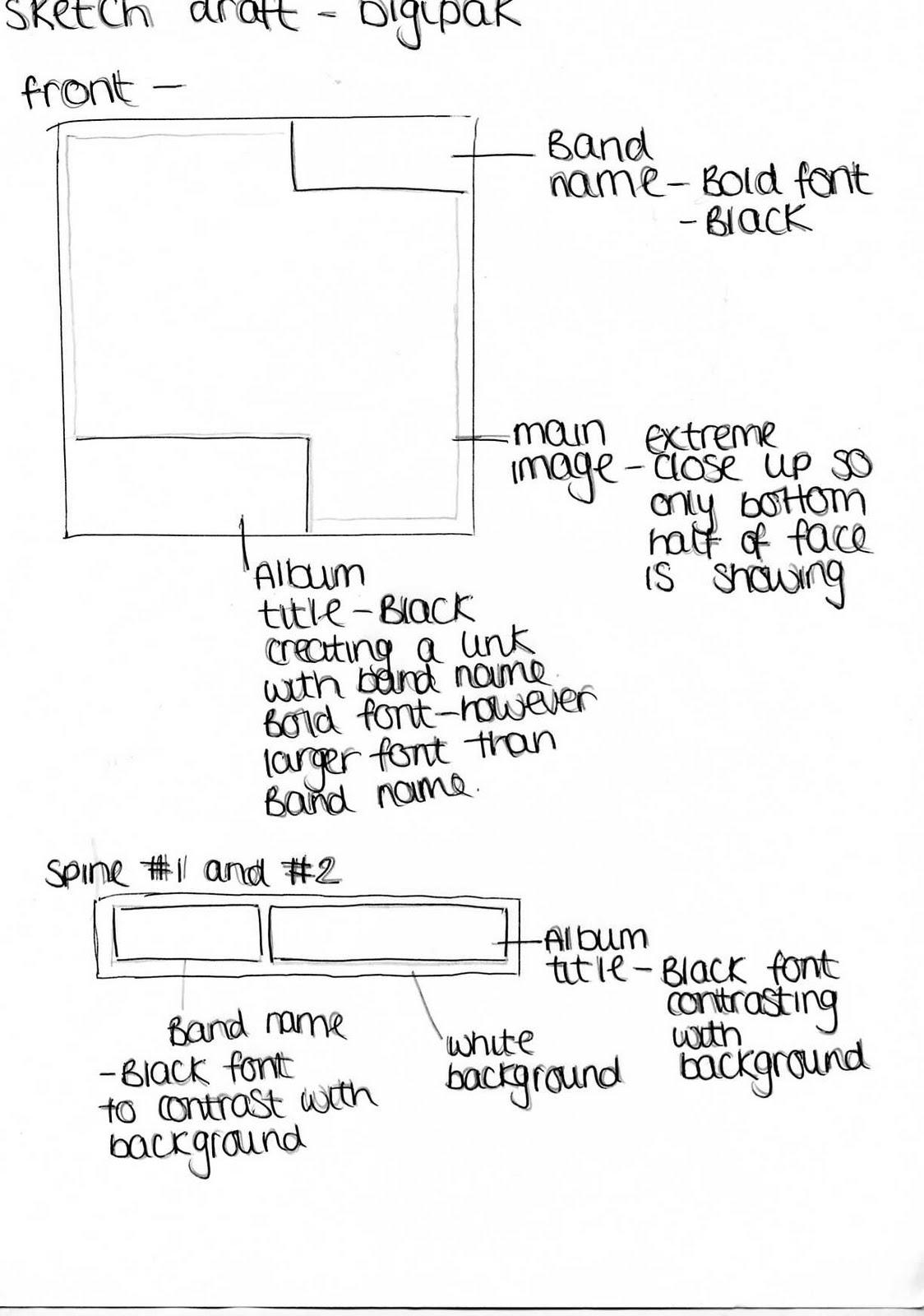 A2 Media Studies Advanced Portfolio: Digipak Design Sketch Draft