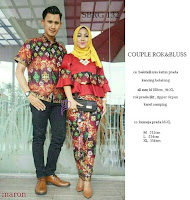 Batik Pasangan SBRG132 Couple Gamis Kebaya Modern maroon